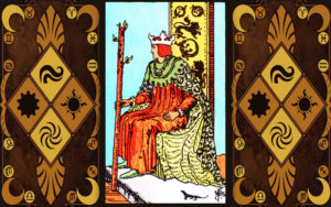 Изображение младшего аркана карт Таро Король жезлов