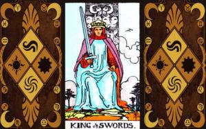 Изображение младшего аркана карт Таро Король мечей