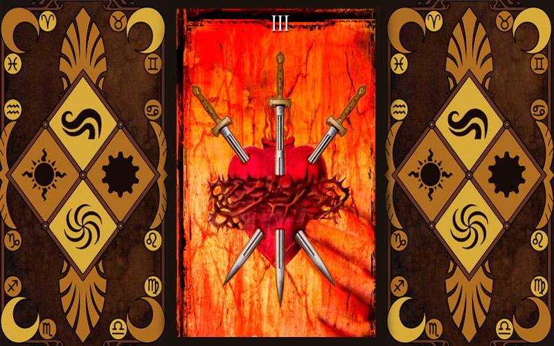 Младший аркан карт Таро - Тройка мечей