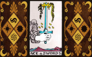 Изображение младшего аркана карт Таро Туз мечей
