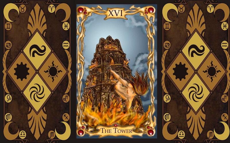 Старший аркан Таро - Башня (Пламя, Сгоревший Храм)